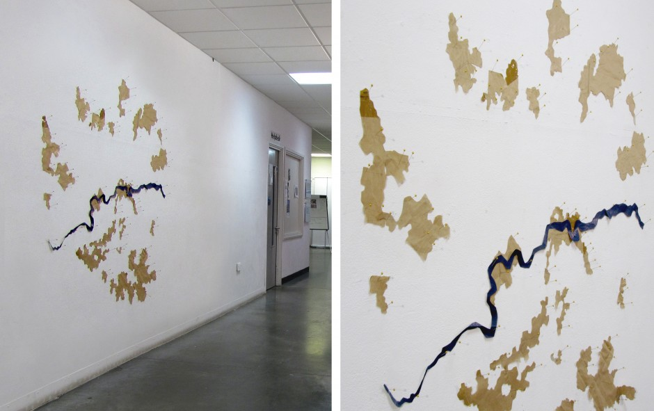 Affordable/ Unaffordable London, 2011 map pins, brown paper installation view, University of East London Gallery 2.2 x 2.2 m